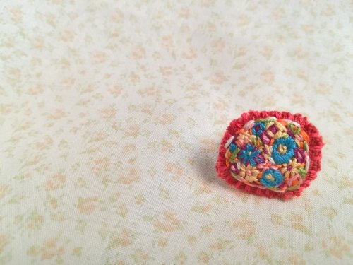 花刺繍の指輪 flower embroidery ring *red