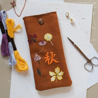 Hand Embroidered Pouch bag/ Phone case bag - Autumn