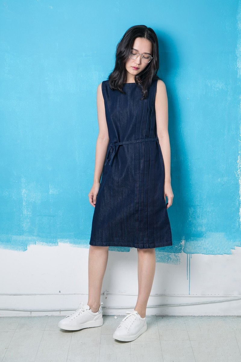 Tannin Side Folded Bandage Dress Denim Dress - Midnight Blue