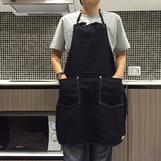 New Black Washed Canvas Apron no.05 Silver rivets 2 pockets /garden/barista