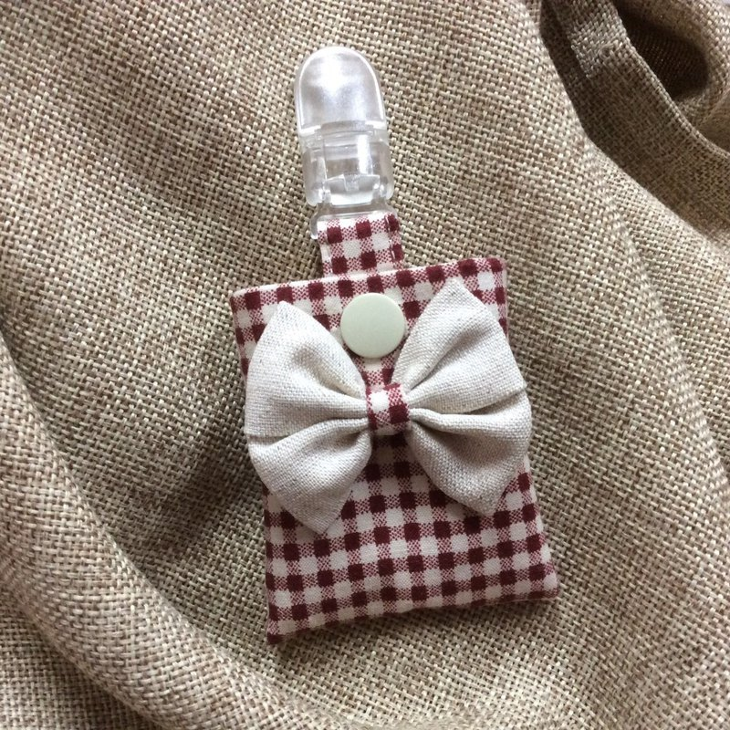 Peaceful bag key ring red plaid - bow series