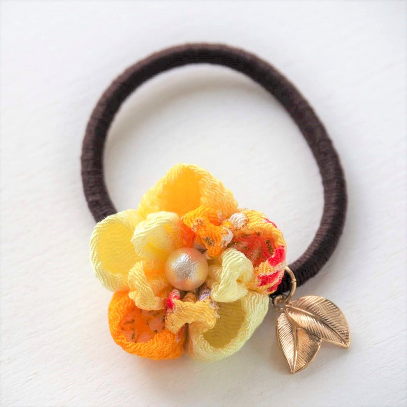 Charming Shades of Yellow Flower Gold leave Hair tie custom
