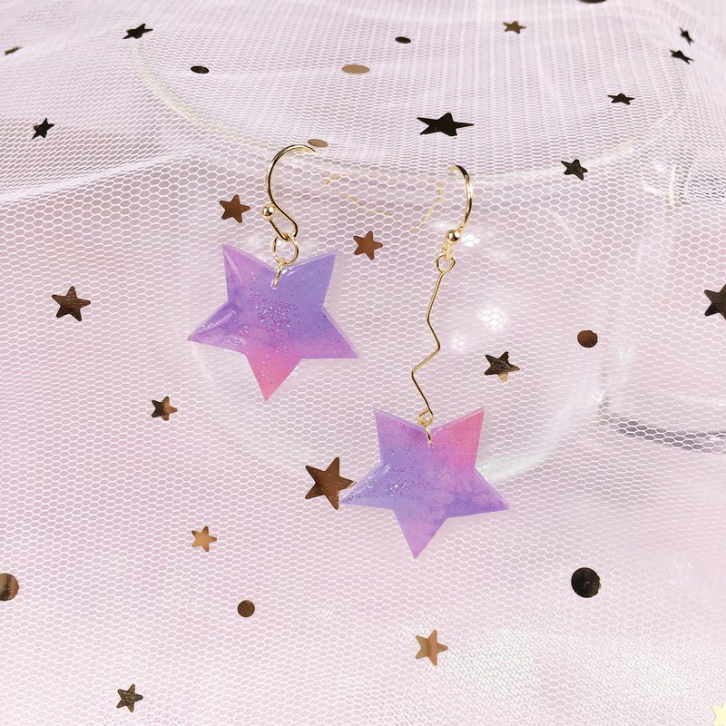 The sky stars love hand-painted asymmetric 18K Gold Earrings