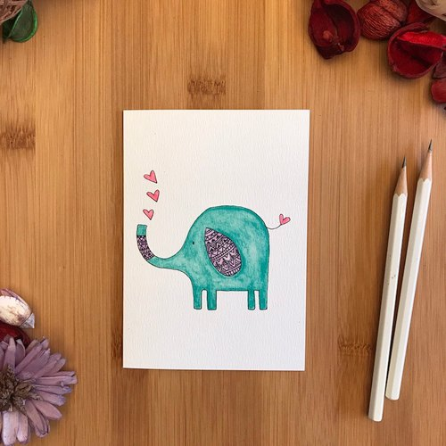 【LITTLE DIFFERENCE】ELEPHANT HEARTS GREETING CARD