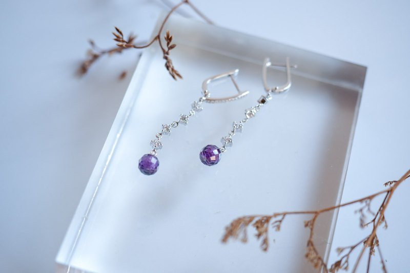 Exquisite long dangle sterling silver earring with 7 mm purple crystal balls