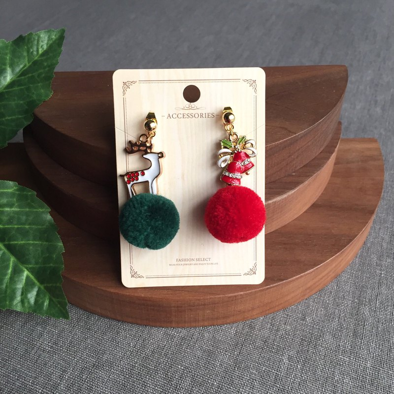 ❤️Christmas gift! Ear clip-on / ear stud--Christmas gift! Green red elk  Jingle bells cute fur ball earringscute fur ball earrings
