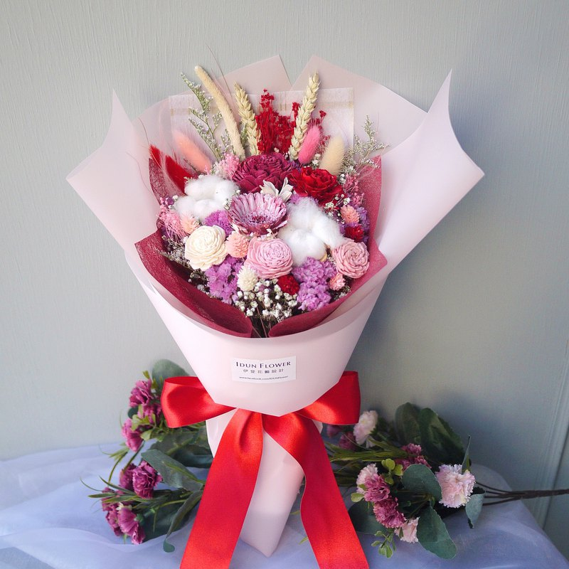 Vernal Equinox - Red Pink Hand Hold Dry Bouquet Valentine's Day Mother's Day