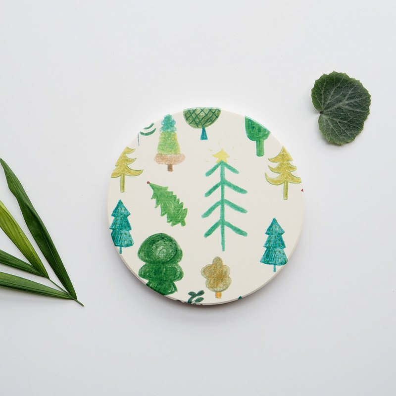 A small forest ceramic absorbent coaster / pot pad / insulation pad / placemat