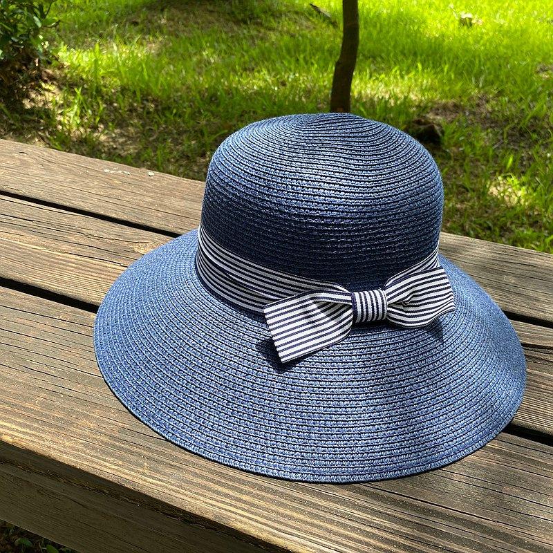 優雅圓頂編織 遮陽帽 淑女帽 漁夫帽  條紋織帶蝴蝶結款
