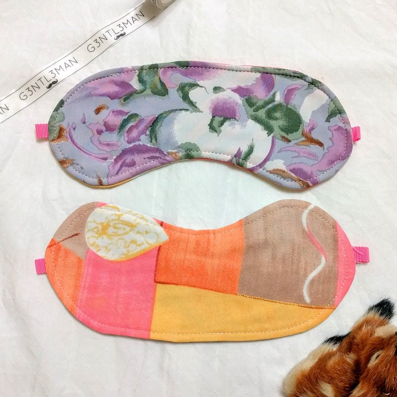 Watercolor purple flower x Pupu yellow double-sided eye mask handmade good sleep sleep