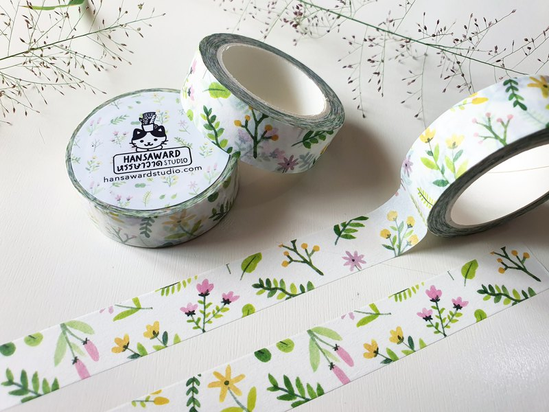 和紙膠帶,花卉圖案和紙膠帶,寬 1.5 厘米,用於裝飾
