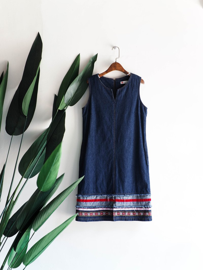 River Water Mountain - Kyoto Deep Blue Totem Temperament Woman Antiques Denim Sling Dresses Overalls