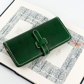 [Tangentialism] handmade leather simple retro buckle long wallet clutch bag lady wallet