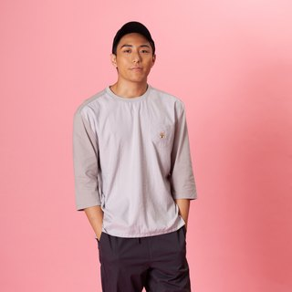 【Pjai】7/L Sleeves Pocket T-shirt- Nav//Grey (TP653)