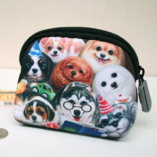 [Henry House Family] Diving Cloth Model Coin Purse - Happy Hundred Dogs