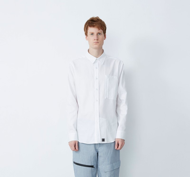 Wipe - Hand Wrinkle Anti-Wrinkle Zipper Pocket Shirt - White