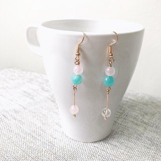 Puputraga Shangcai's life/blue-pink pure white crystal temperament earrings