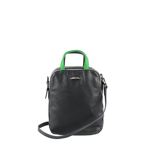 Speakeasy Washed Sheepskin Mini Shoulder Bag - Dark Blue x Green