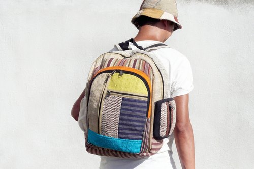Limited after a hand stitching design cotton backpack / shoulder bag / ethnic mountaineering bag / Patchwork bag - after South wind geometric ethnic rucksack