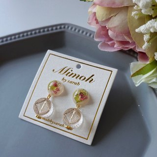 Pressed Flower Earrings with Clear Japanese Beads