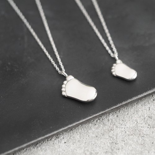 2 set) Foot pair Necklace 925 Silver