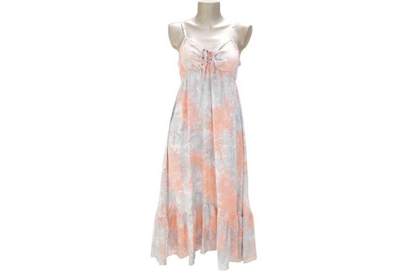 New! Uneven dyed ribbon ruffle dress <Peach gray>