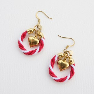 Red white rope and brass heart earrings