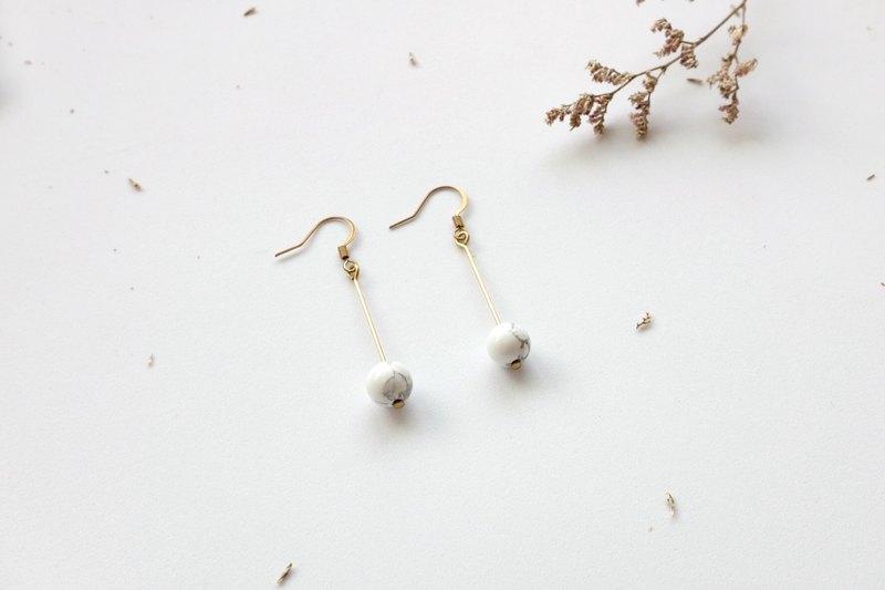 黃銅耳環 | 白松石   耳針 / 耳夾