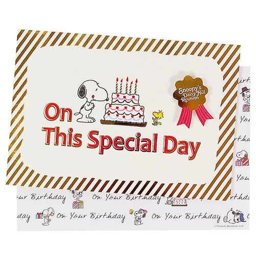 Snoopy Hot Stamping Special Cake (Hallmark-Peanuts - Snoopy - Stereo Card Birthday Blessing)