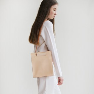 Vegetable tanned leather shoulder leather simple tote diagonal portable tote bag female fresh