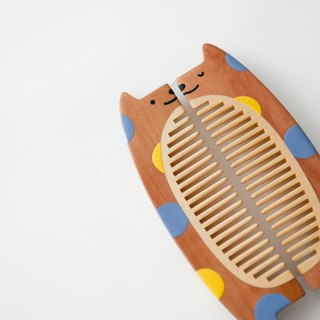 Tan Carpenter _ half a companion _ pretty cat wave point wooden comb