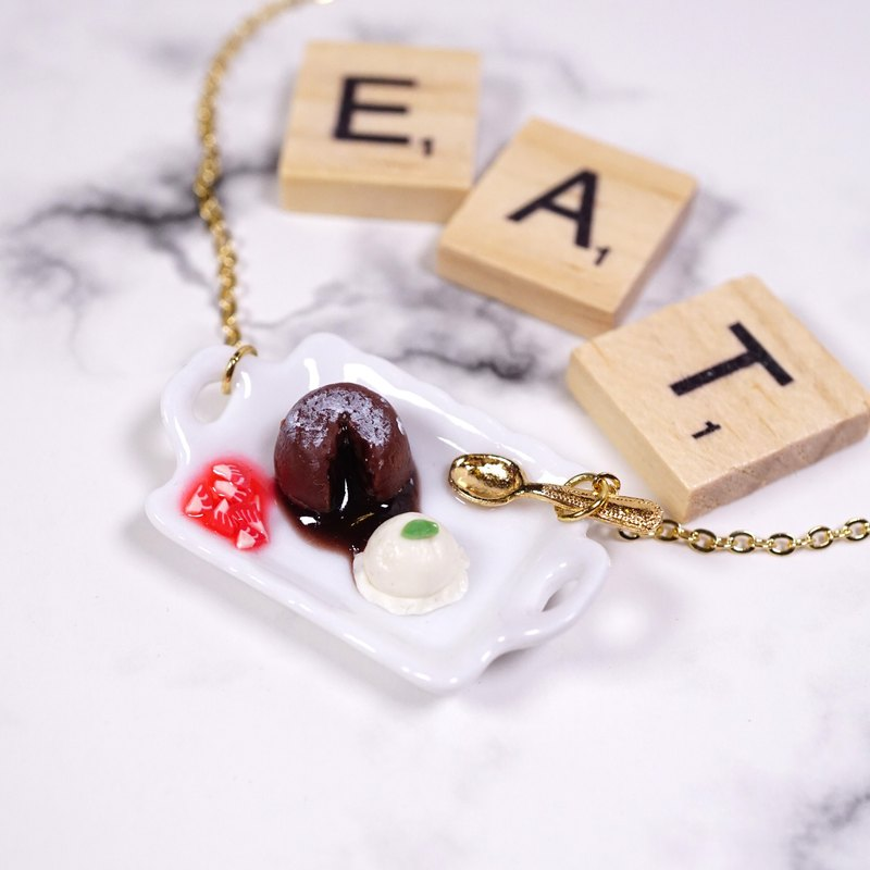 *Playful Design* Mini Molten Cake With Strawberry Sauce Necklace