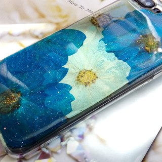 Handmade phone case, Pressed flowers phone case, Blue Cosmos
