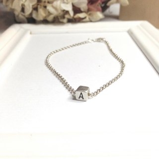 Personalized Love Cute Initial Bracelet Silver ONE Cube Gift For Valentines