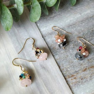 Natural crystal meets tourmaline 14K gold earrings