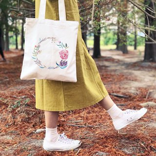 Mstandforc Watercolor Rose Wreath Tote bag with zip