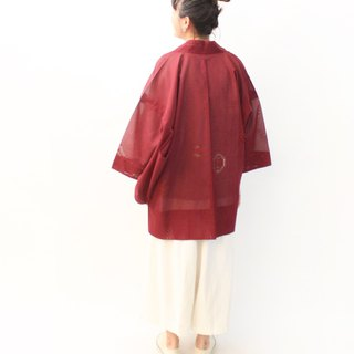 Vintage Japanese system plain dark red totem openwork knit vintage feather kimono jacket blouse cardigan