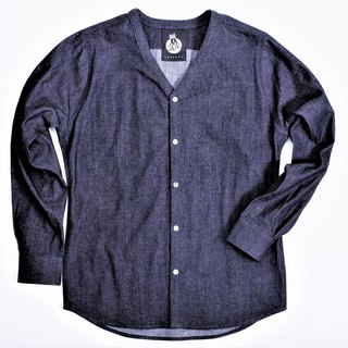8oz denim V-neck shirts (Plain)