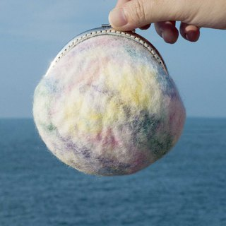 Handmade wool felt gold bag / gold coin purse / rainbow wool felt coin purse - Caixia watercolor palette