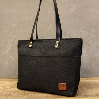 Leather Tote Bag Day - Department of stiff linen canvas (carbon black)