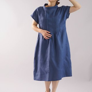 Linen / linen dress / midi dress / pin tuck / loose fitted dress / blue / a81-17