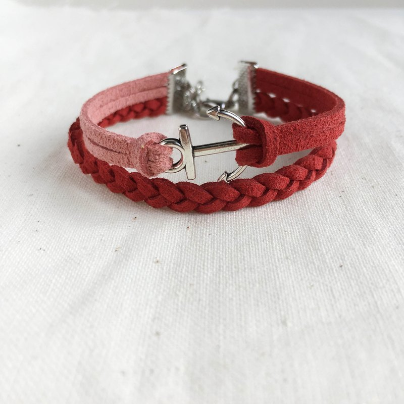 Handmade Double Braided Anchor Bracelets –Brick red limited