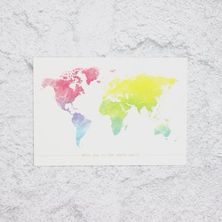 colorful world map postcard/card
