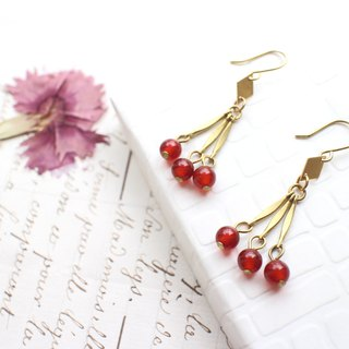 Red fruits-Brass earrings