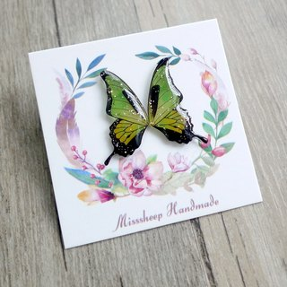Misssheep- [BW07- Green and yellow butterfly] hand-made earrings (ear acupuncture / transparent ear clip) [a pair]
