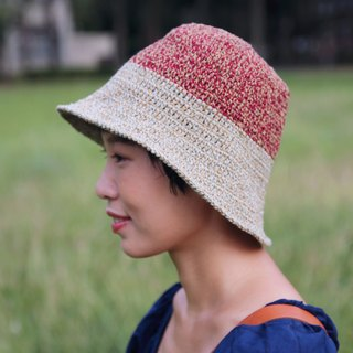 Weaving color wide-brimmed hat - brick red green shoots