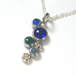 Silver × glass bubble pendant 【free shipping】