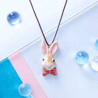 Butterfly Rabbit - Handmade White Porcelain Necklace