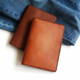 Brown Leather Passport Cover/ Sleeve with Credit Card & boarding pass pocket