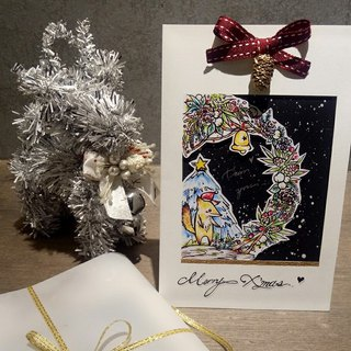 Fox girl ° hand drawn Christmas card / mistletoe